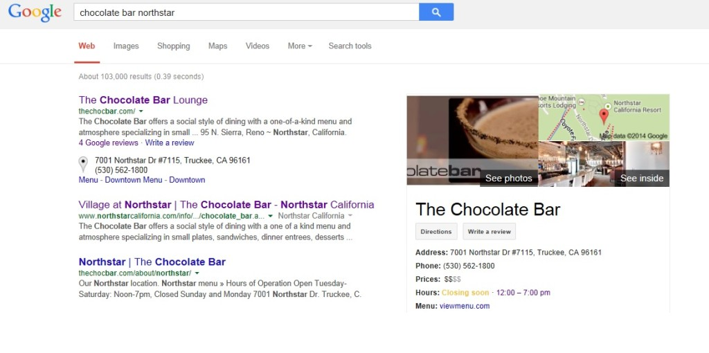 Reno Google Trusted Photographer Marcello Rostagni photographs The Chocolate Bar at Northstar!